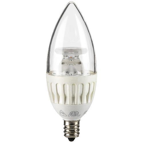 SUNLITE 4.5W Candelabra LED E12 CLEAR Torpedo Warm White Light Bulb