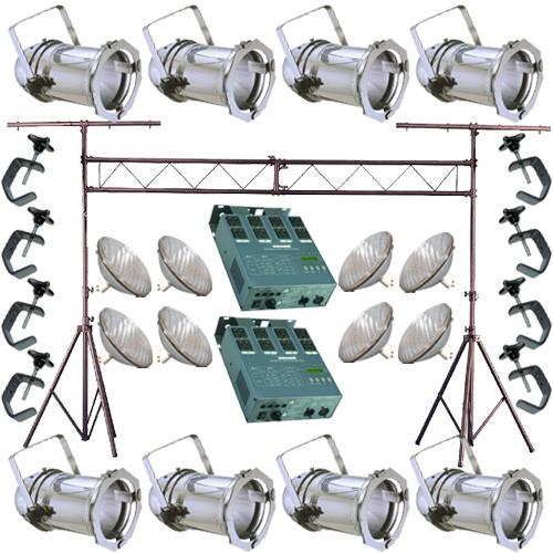 BulbAmerica 8 Silver PAR CAN 56 500w PAR56 WFL Dimmer C-Clamp Truss 2825