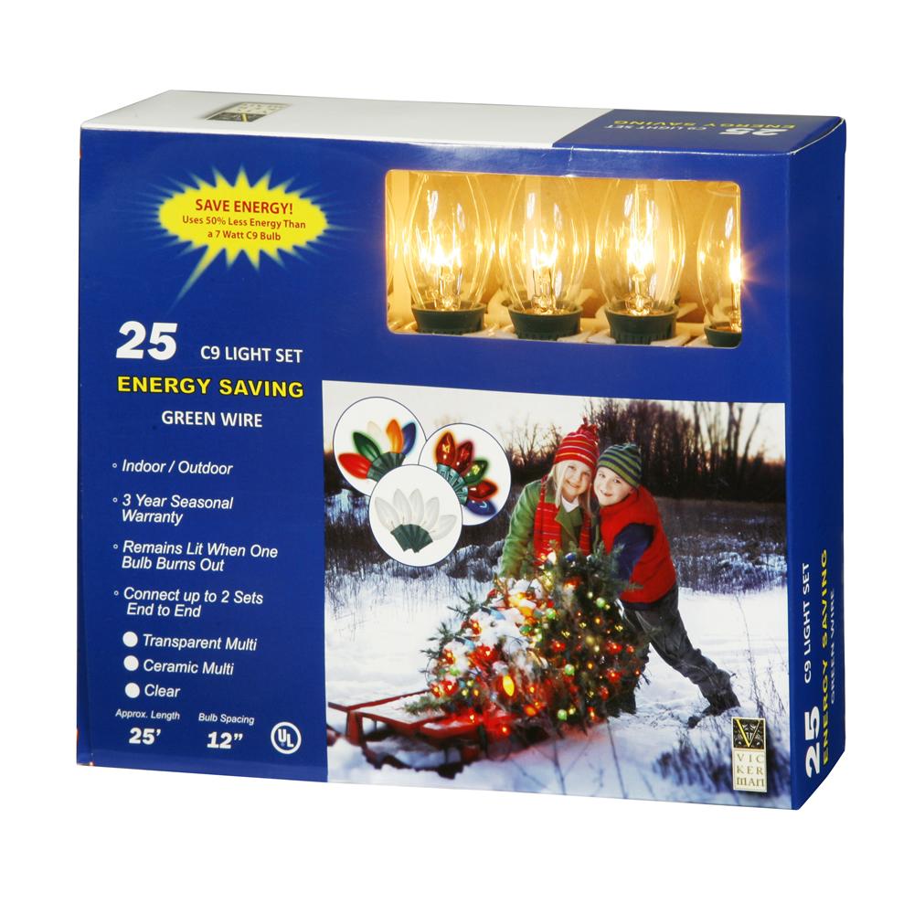 Vickerman 25 Clear C9 Lights 25Ft. Christmas Set