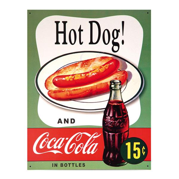Coca Cola Hot Dog 15 Cents Metal Sign Vintage Diner Style