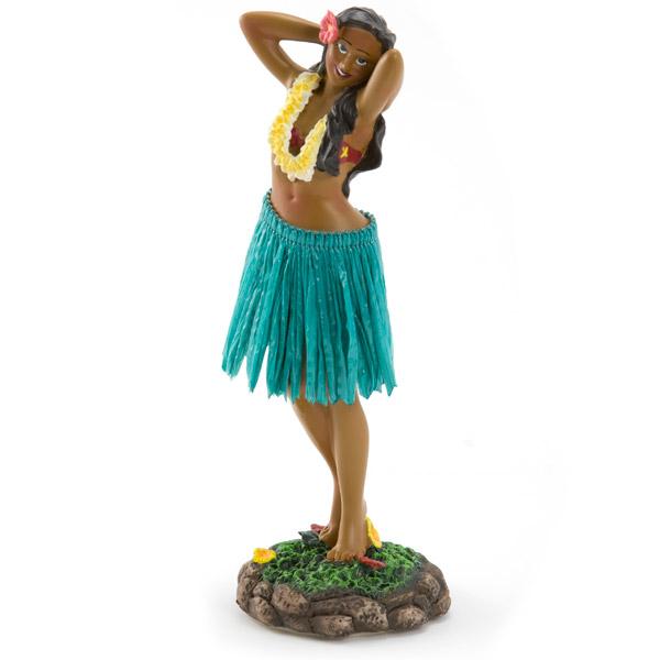 Hawaiian Pose Green Skirt Dashboard Hula Doll Vintage
