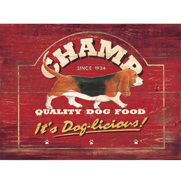 Champ dog food advertisement metal sign pet decor vintage for Plaque metal cuisine
