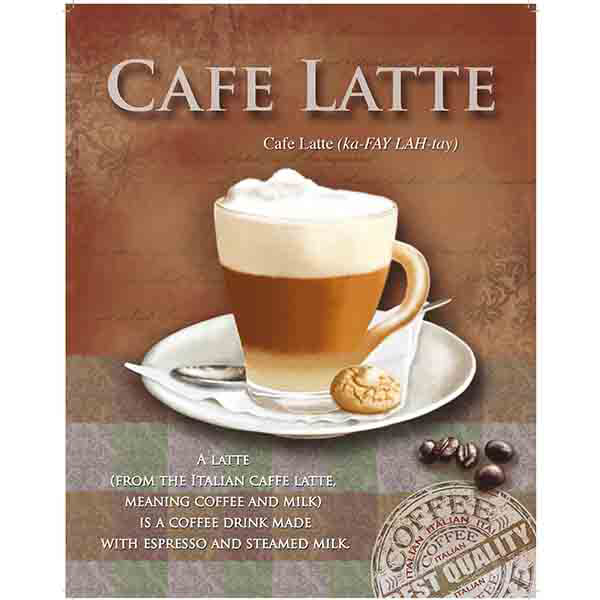 cafe latte defined metal sign metal coffee shop wall decor