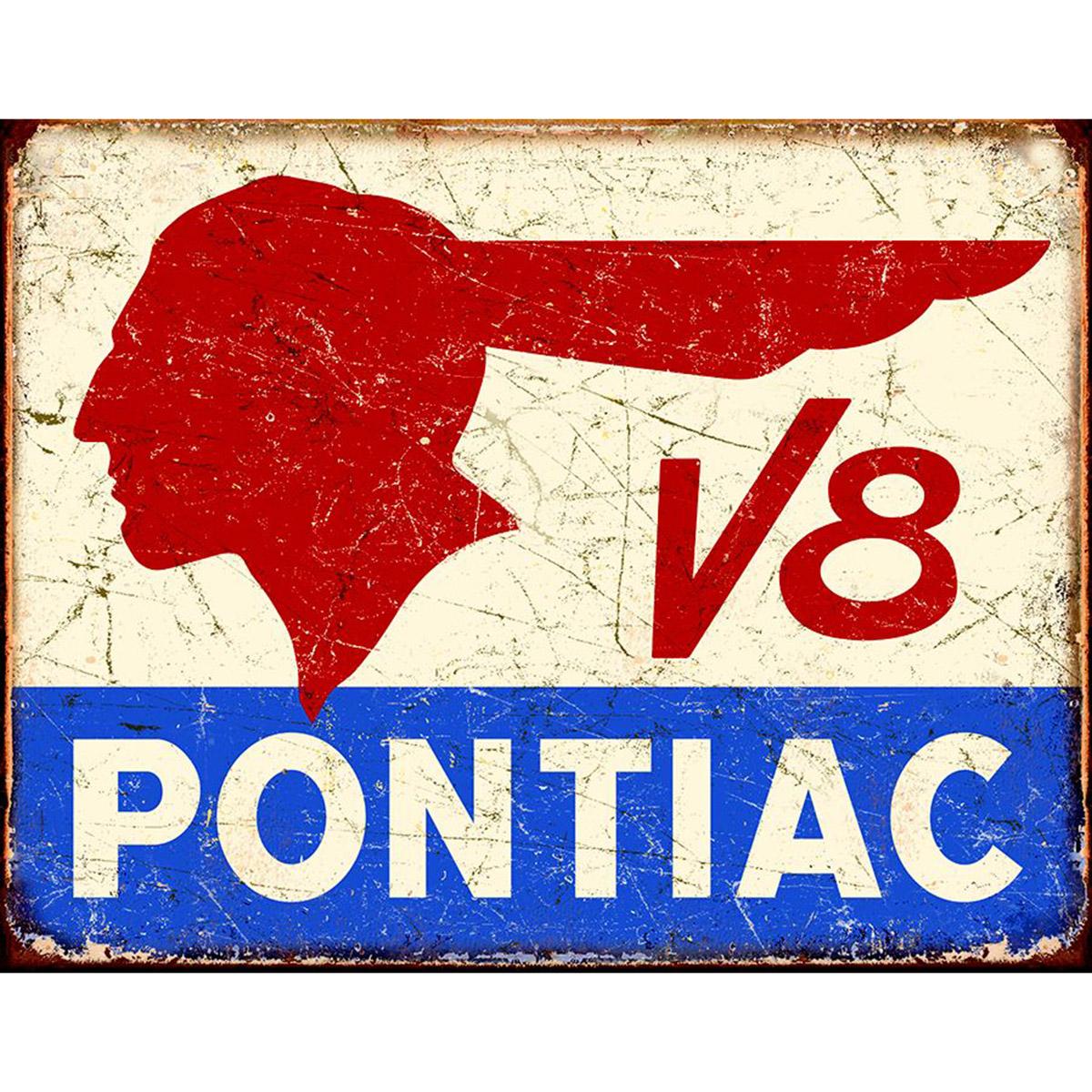 pontiac v8 indian logo metal sign vintage distressed. Black Bedroom Furniture Sets. Home Design Ideas