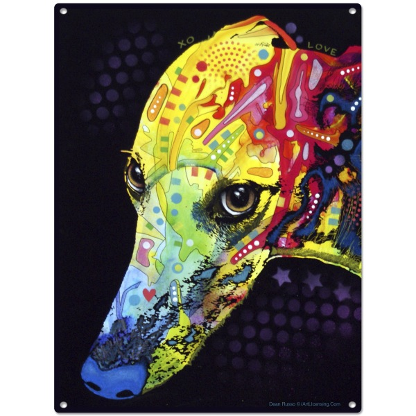 greyhound dog dean russo pop art metal sign pet steel wall decor 12 x 16 - Dean Russo