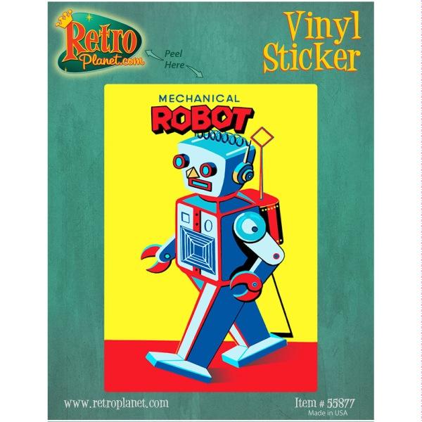 Mechanical Robot Walking Vinyl Sticker Vintage Style