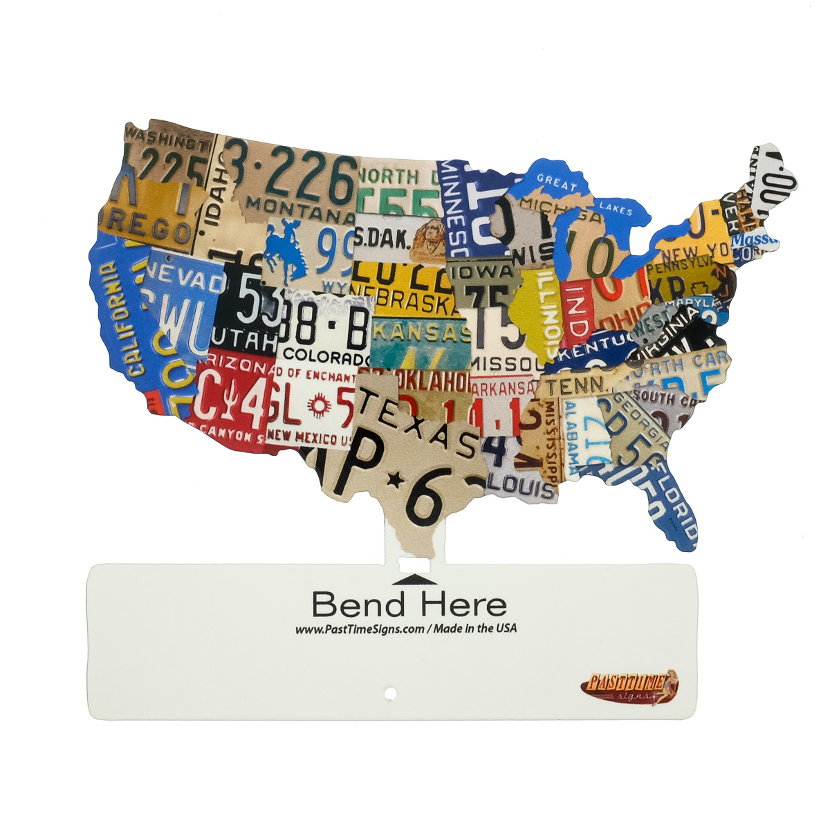 USA Map License Plate Style Tabletop Sign Automotive Travel Decor - Poster map of usa