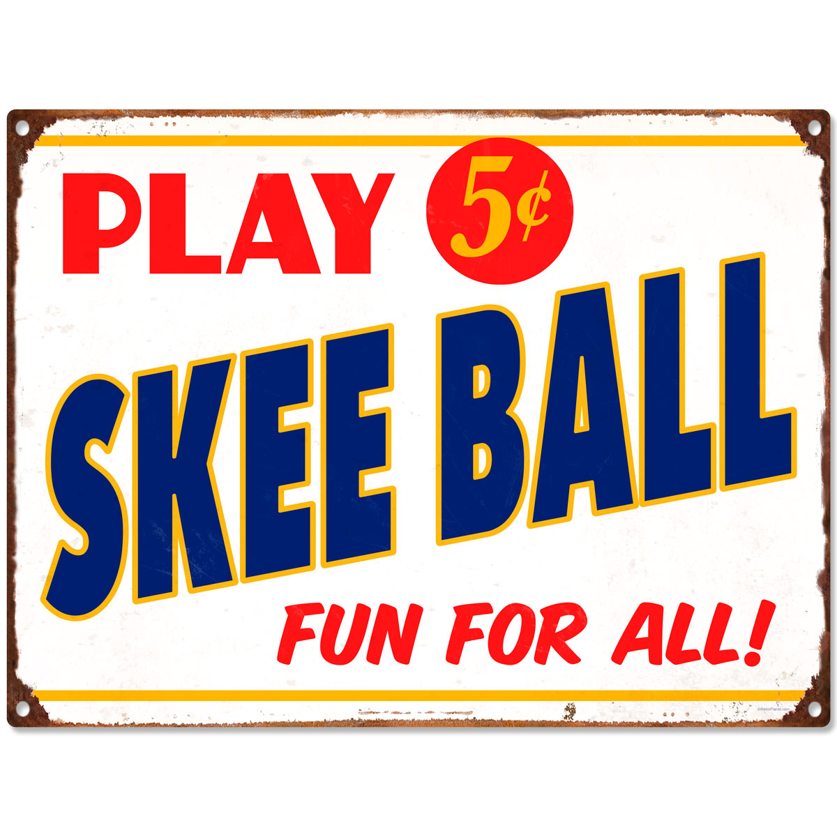 Game Room Wall Decor Play Skee Ball 5 Cents Metal Sign Vintage Style Game Room Wall