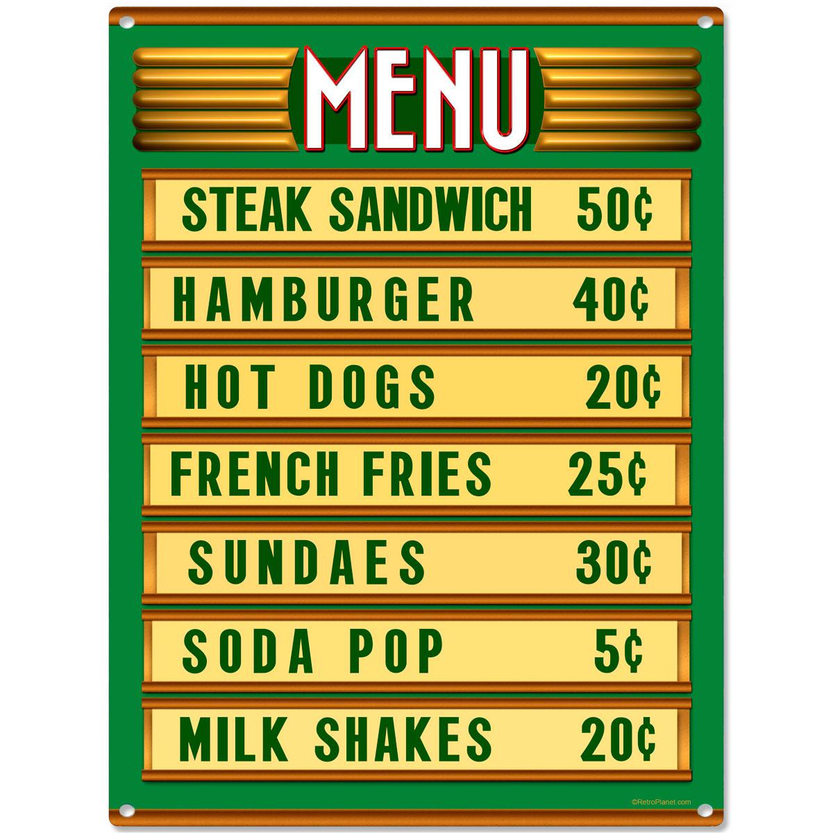 Retro Kitchen Signs: Diner Menu Board Price List Kitchen Sign Vintage Style
