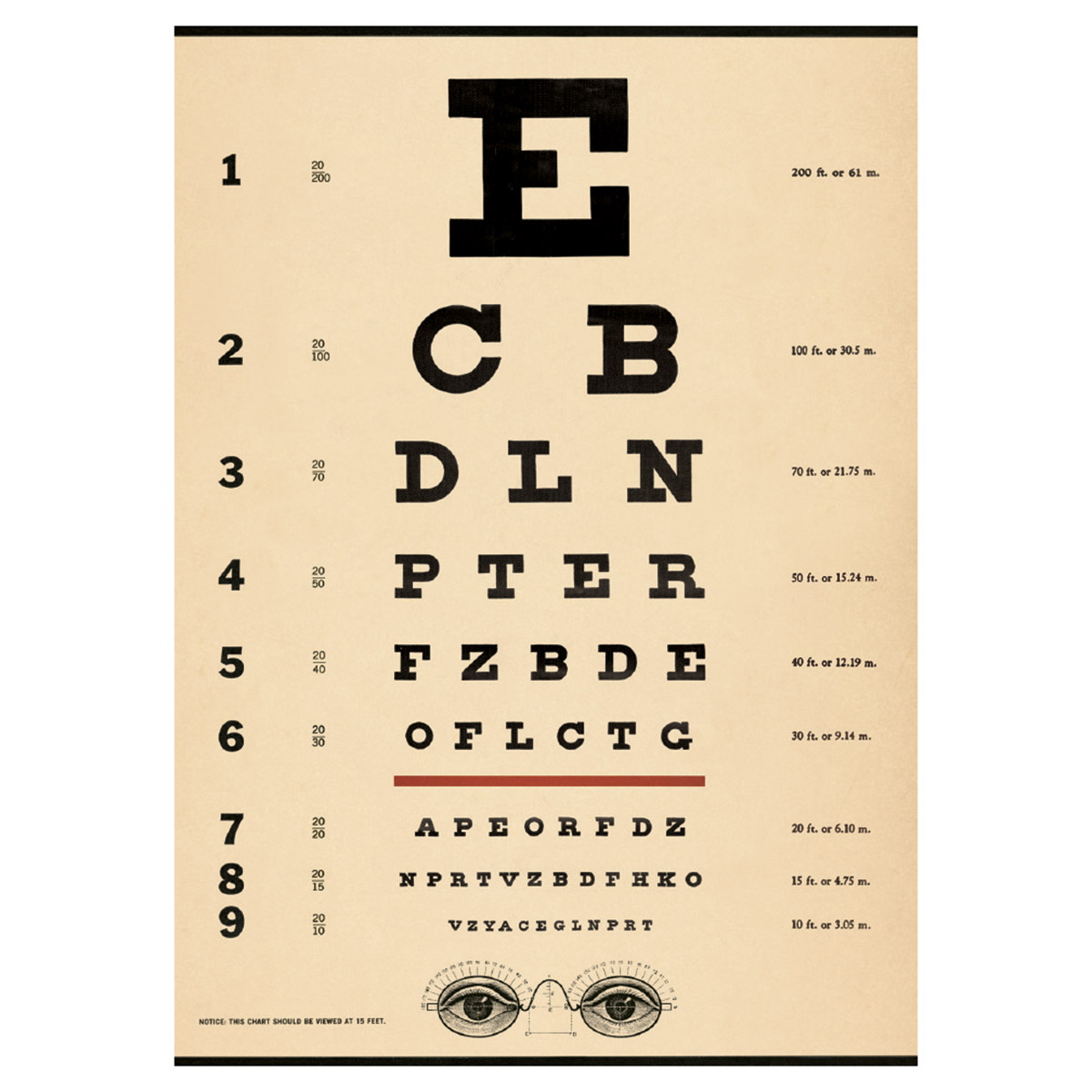 Eye Chart Doctors Office Optician Vintage Style Poster