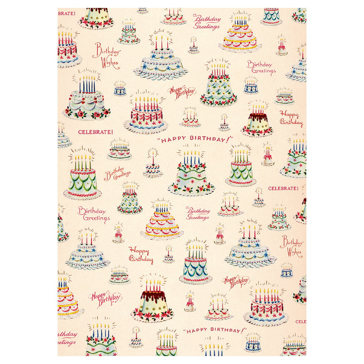 Happy Birthday Cakes Wrapping Paper Sheet Vintage Style