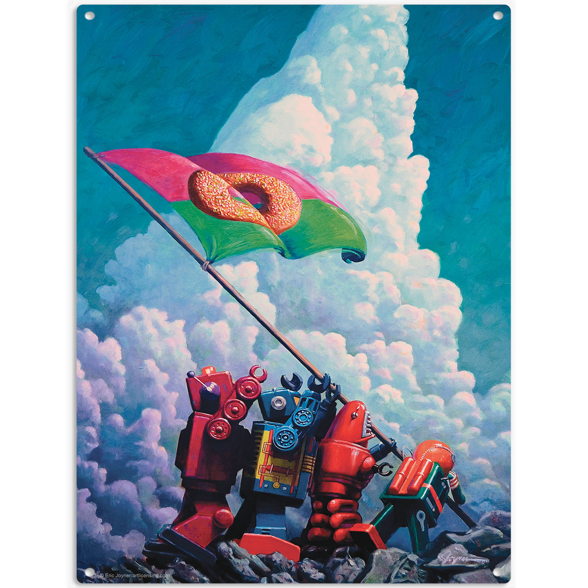 Robot iwo jima donut flag iogima metal sign retro sci fi for Sci fi home decor