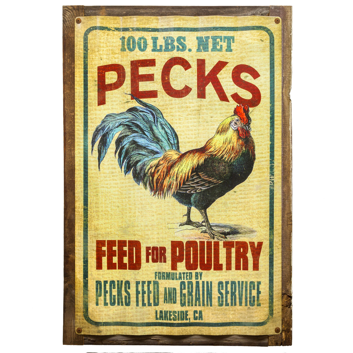 Kitchen Signs Ebay: Pecks Rooster Feed Corrugated Metal Sign Rustic Vintage