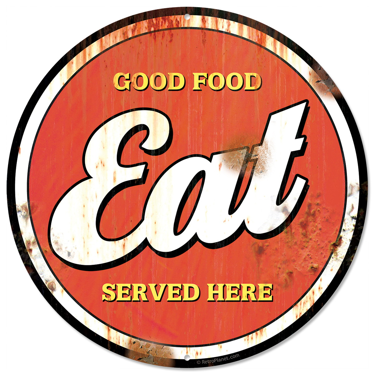 Eat good food here distressed metal sign vintage style for Plaque decorative cuisine