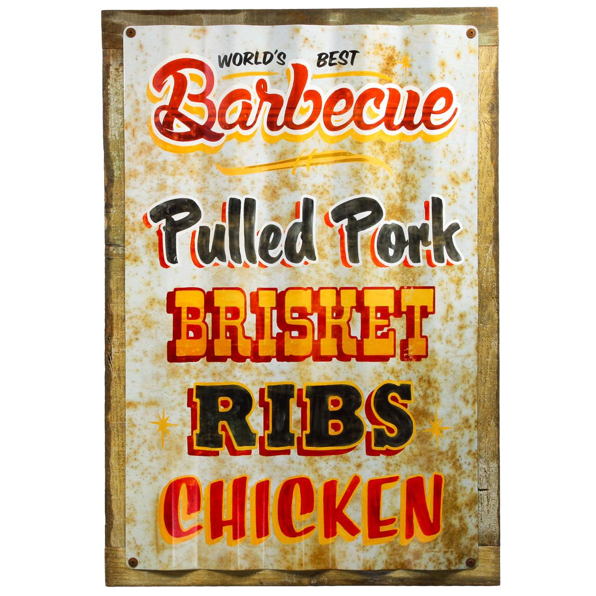 Kitchen Signs Ebay: Barbecue Restaurant Menu Framed Corrugated Metal Sign