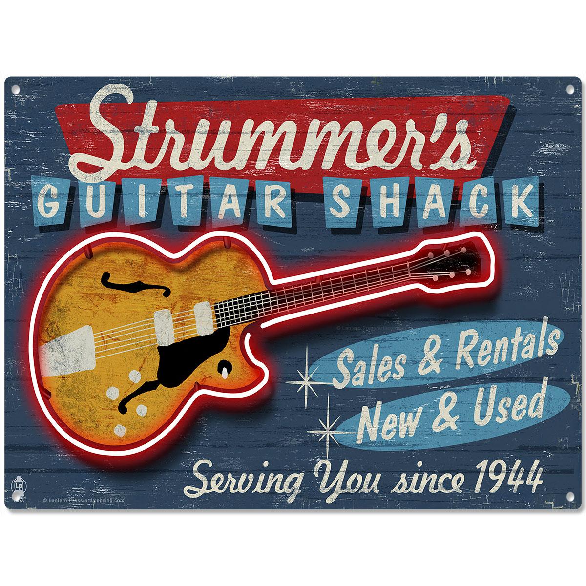 strummers guitar shack music shop metal sign vintage style bar decor 16 x 12 ebay. Black Bedroom Furniture Sets. Home Design Ideas