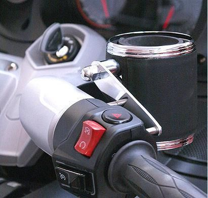 leather wrapped cup holder and mount kit for can am spyder. Black Bedroom Furniture Sets. Home Design Ideas