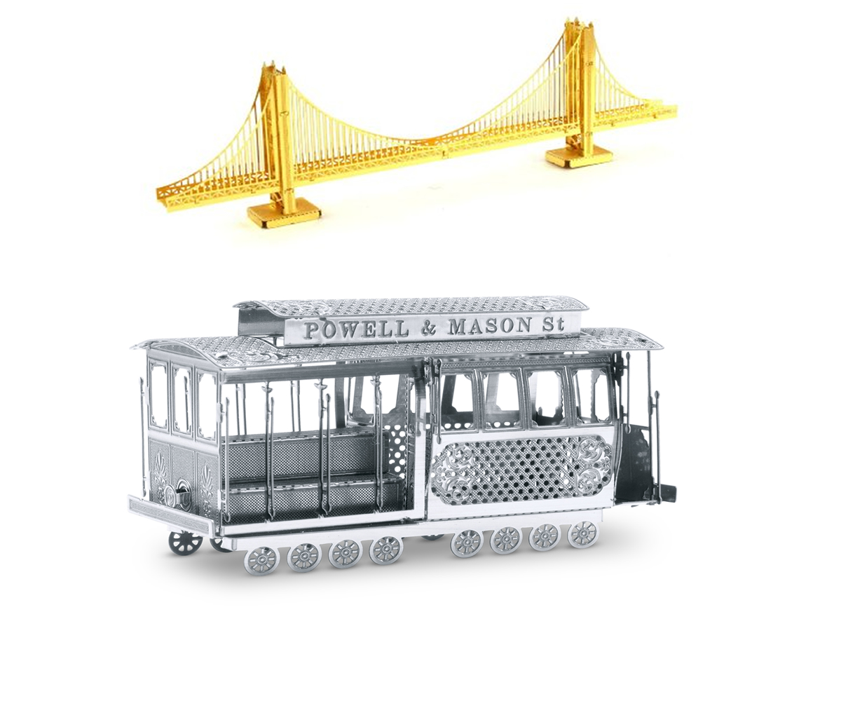 3d laser cut steel models golden gate bridge and cable car set of 2