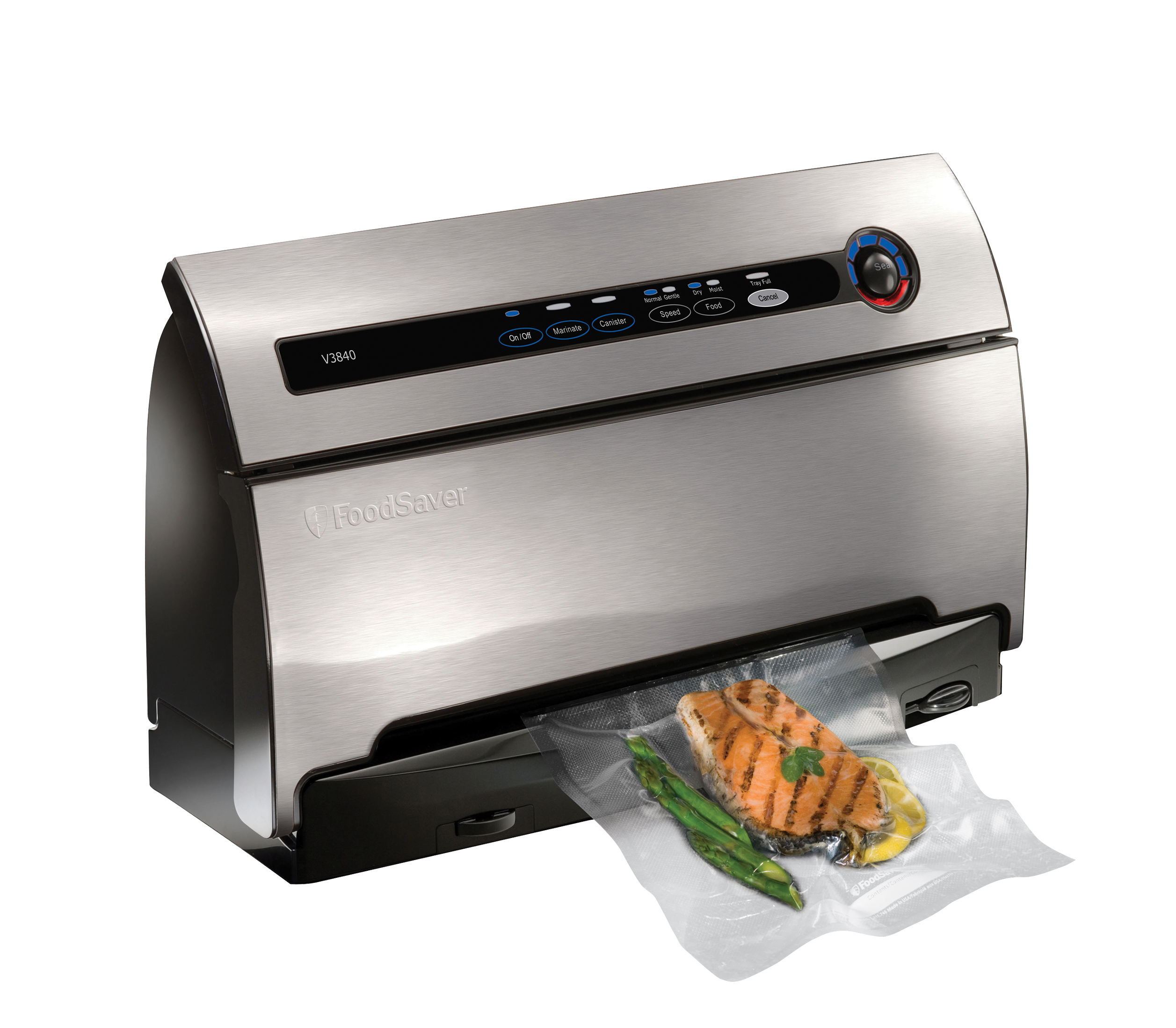 FoodSaver-Countertop-V3840-Vacuum-Sealing-System-Stainless-Steel-w-Starter-Kit
