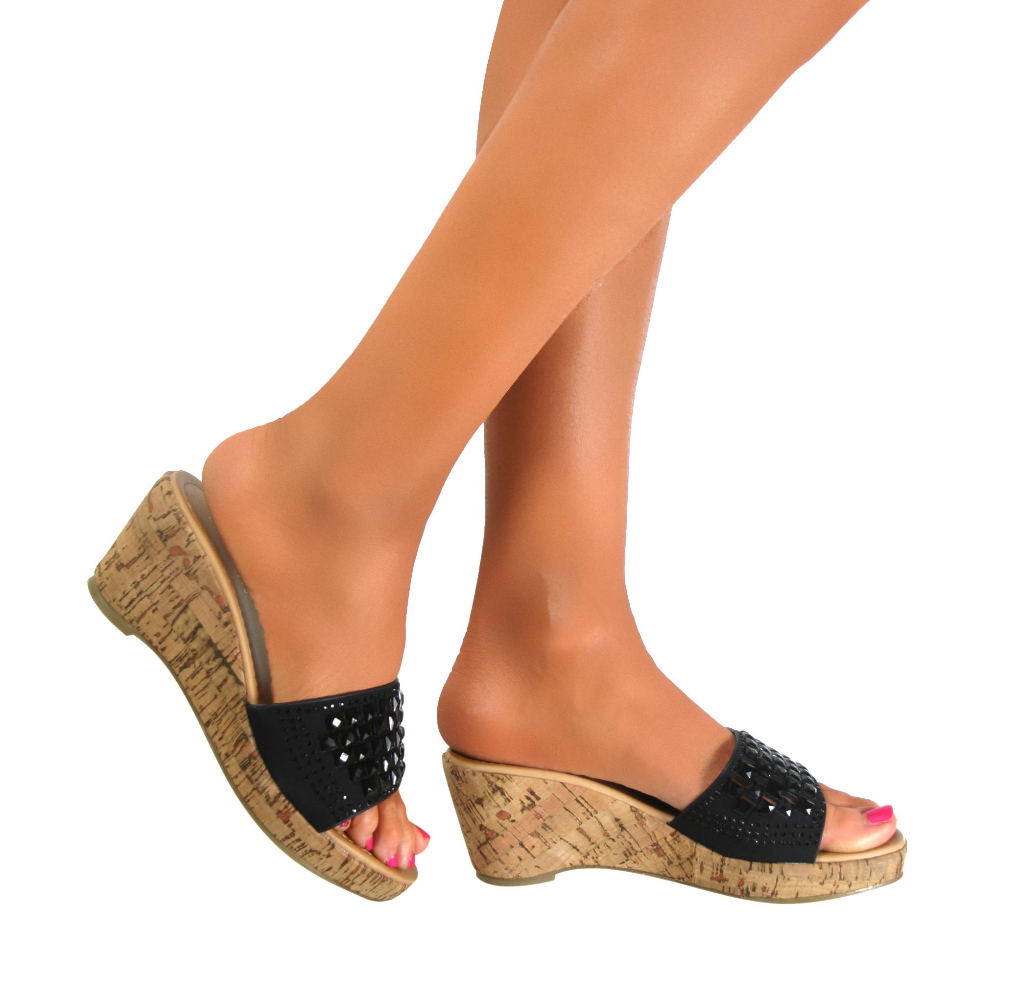 platform wedge block high heels peep toe sandals