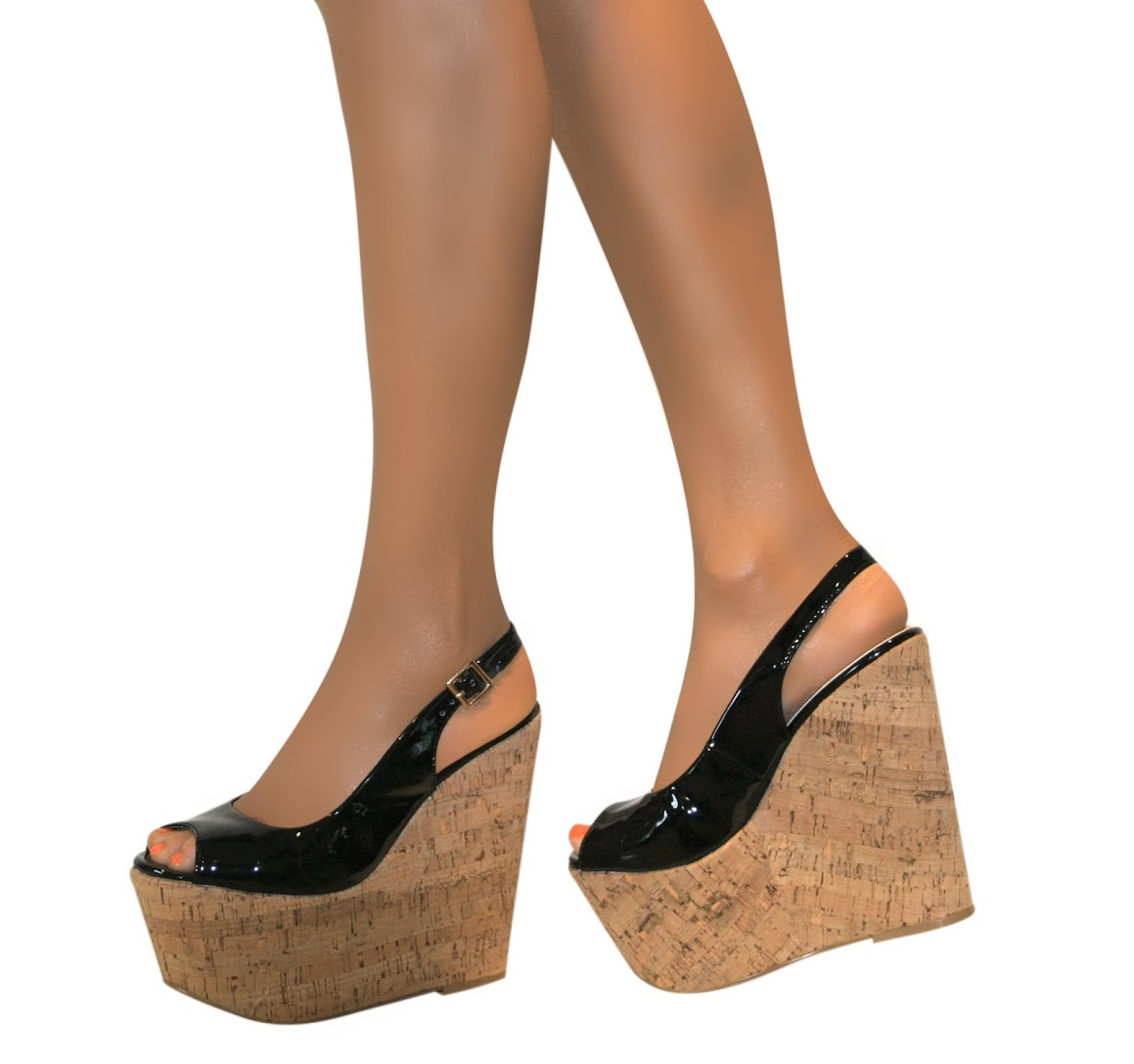 Womens Black Patent Wedge Shoes