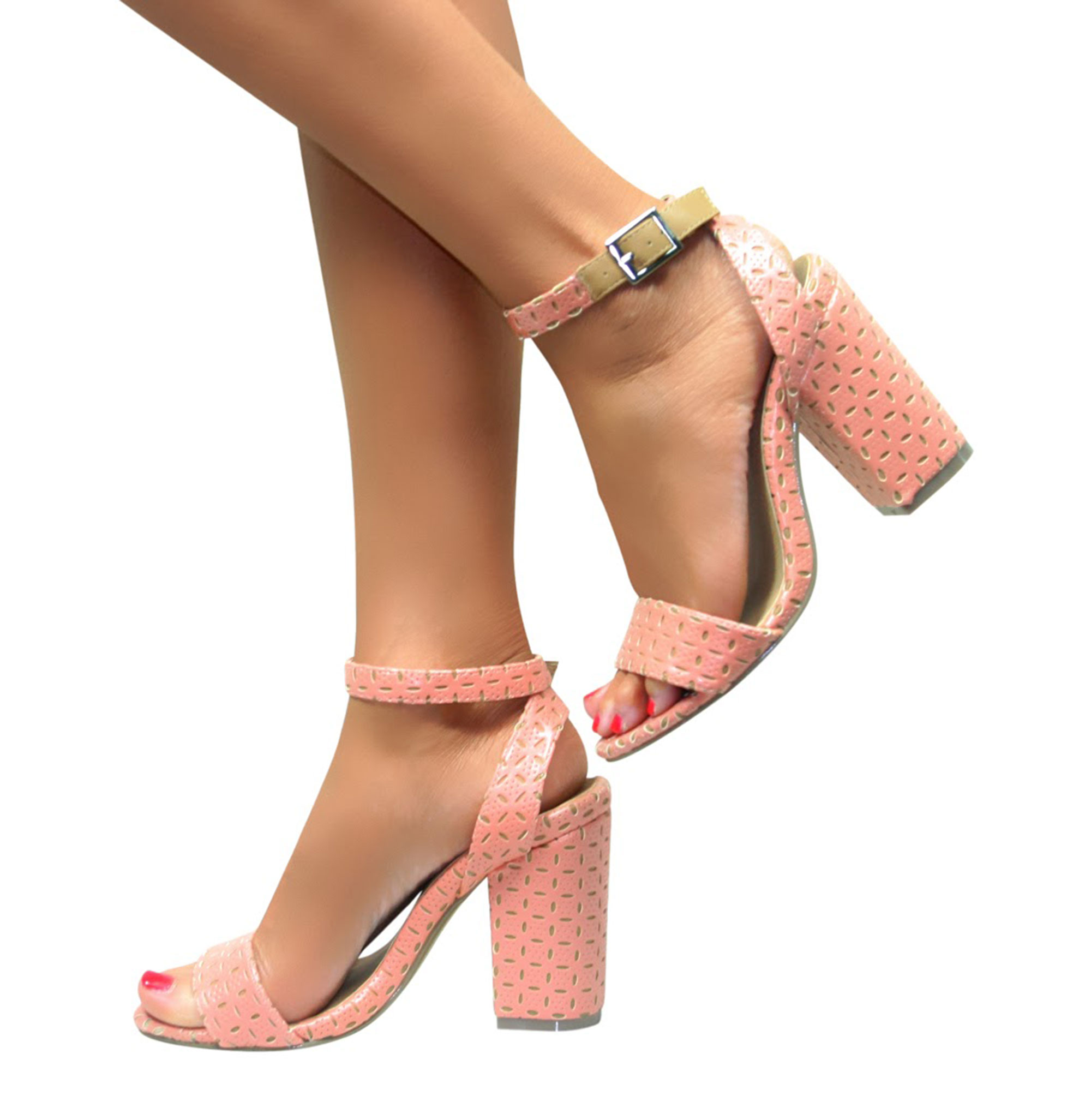 LADIES MID HIGH BLOCK HEELS PEEP TOE SANDALS ANKLE STRAP ...