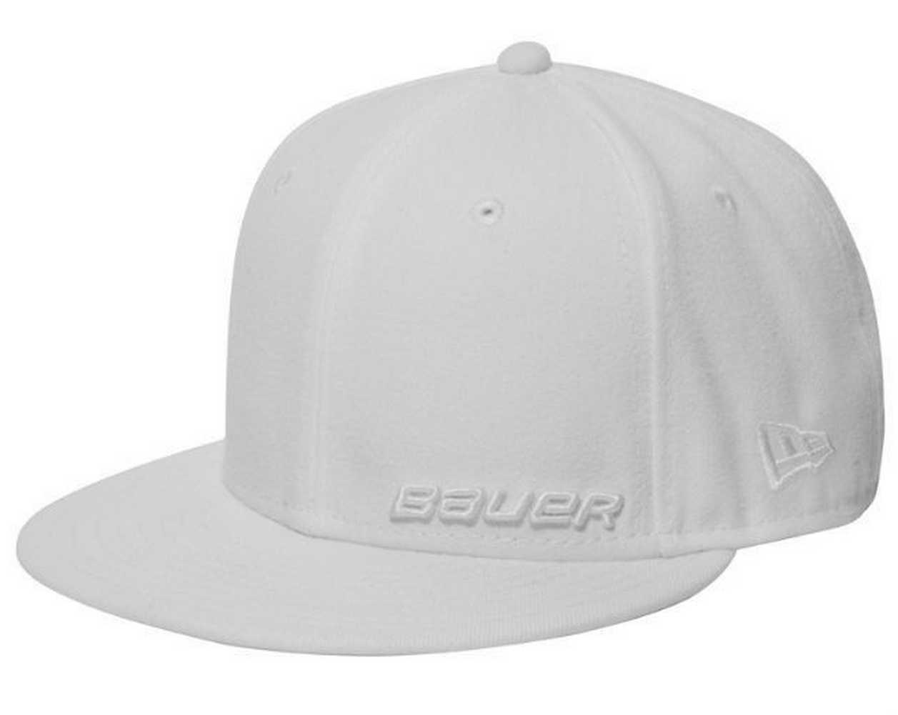 bauer new era 59fifty cap solid white fitted hockey hat