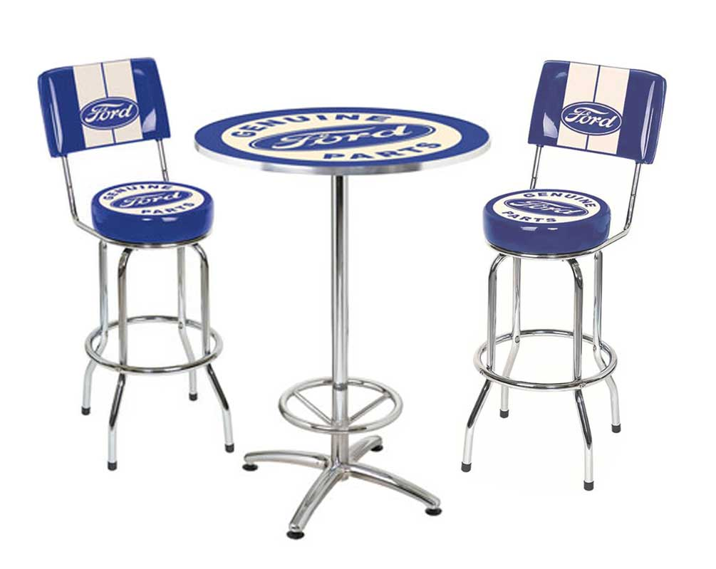 Ford Genuine Parts Bar Stool And Cafe Table Set 2 Stools