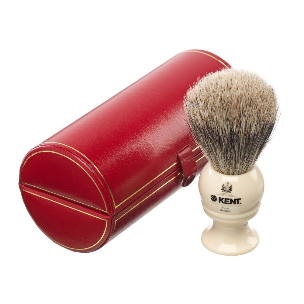 Kent Mens Small Travel Pure Silver Tip Badger Black Ivory