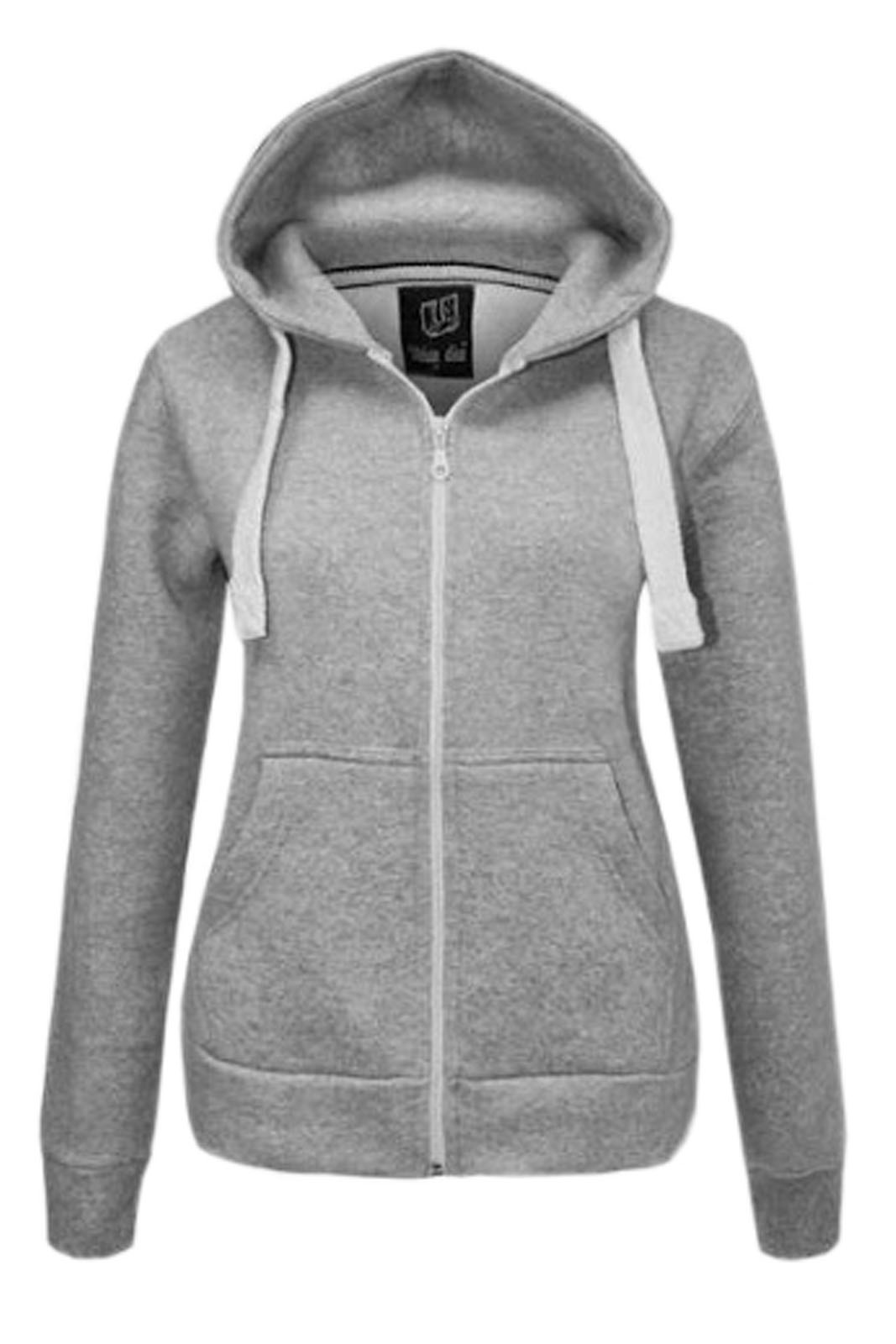 NEW WOMENS PLAIN ZIP HOODIE SWEATSHIRT LADIES FLEECE HOODED JACKET ...