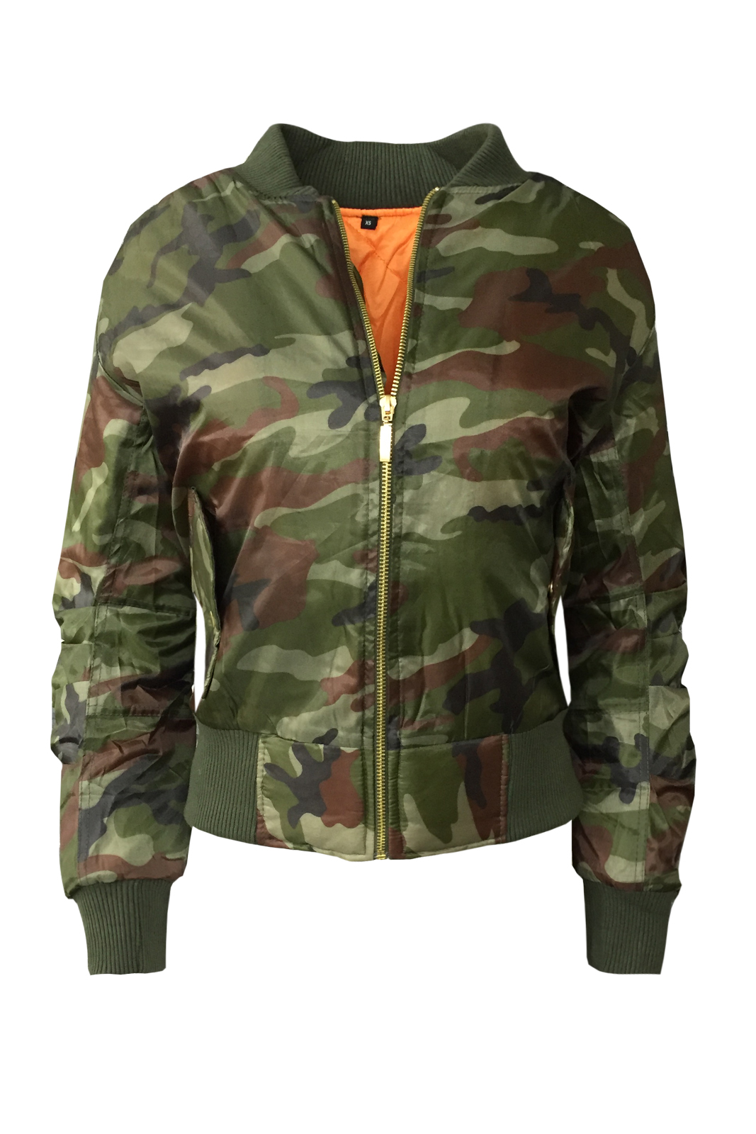 New Ladies Retro ARMY Bomber Jacket Womens Camouflage Scooter Full ...