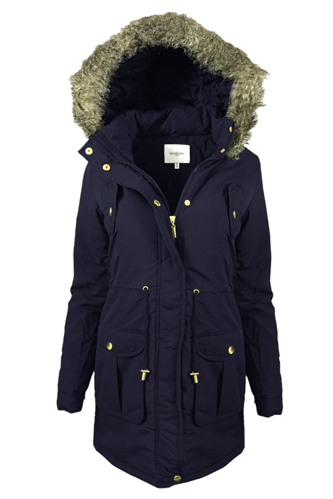 Ladies Parka Jacket Faux Fur Hooded Soft Padded Womens Winter ...