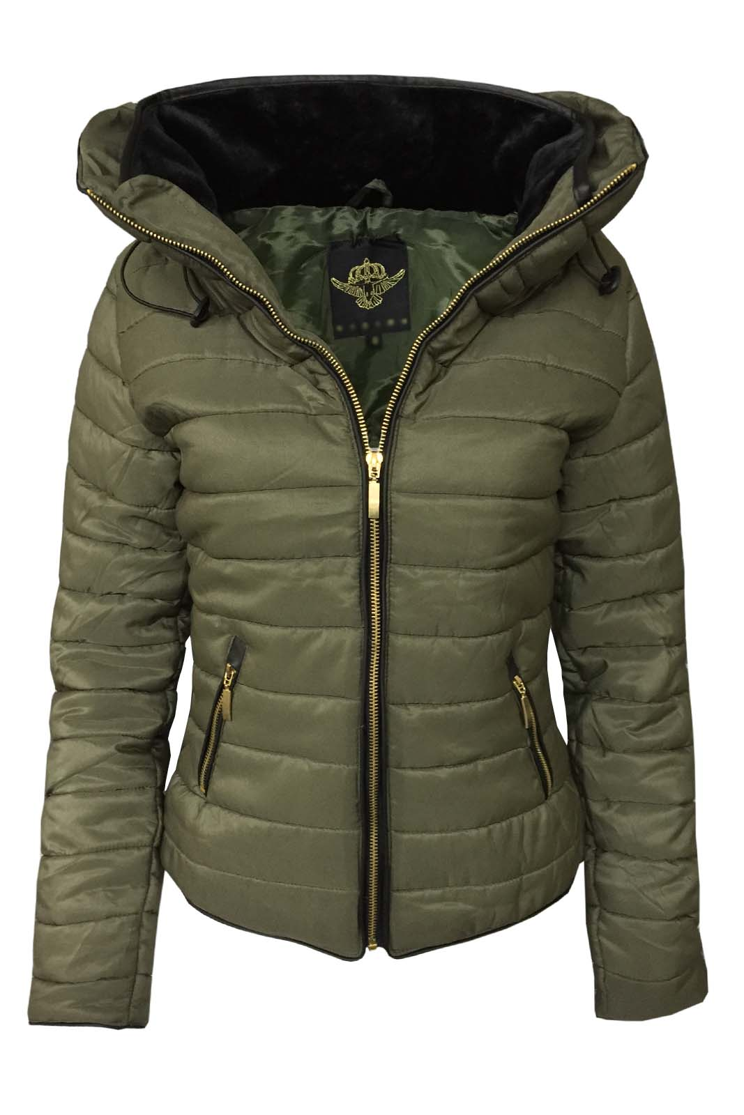 Tru Blu Women's Quilted Puffer Jacket Ladies Padded Bomber Zipper ...