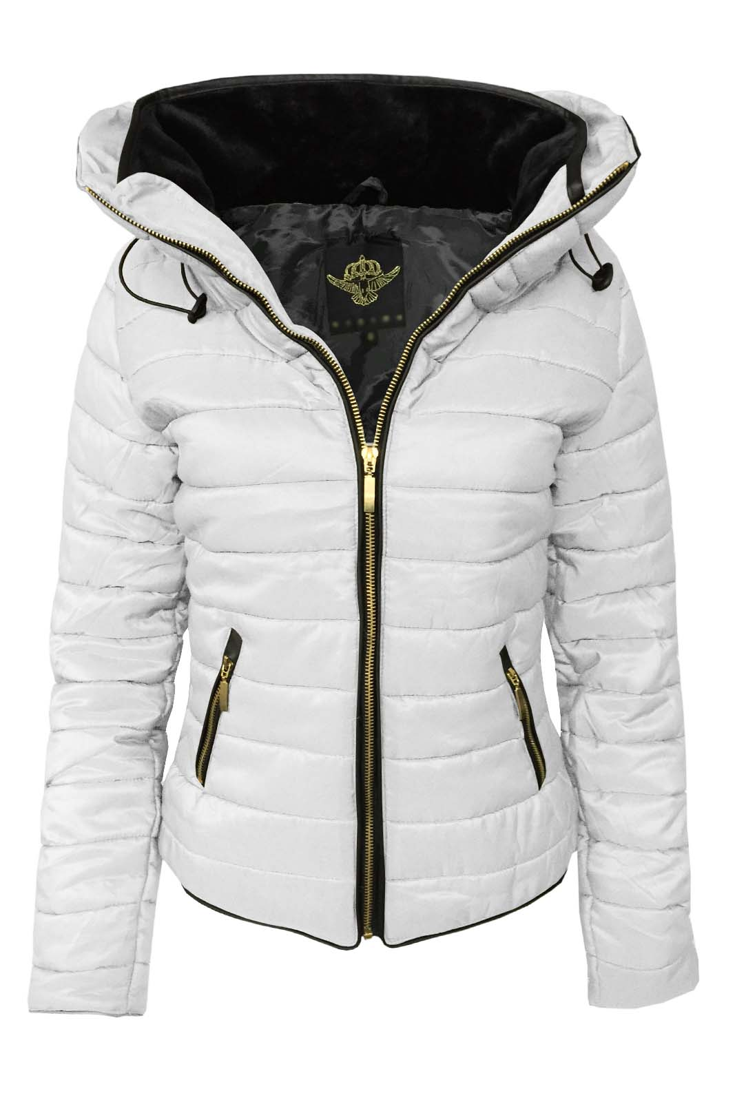 Womens black padded quilted jacket