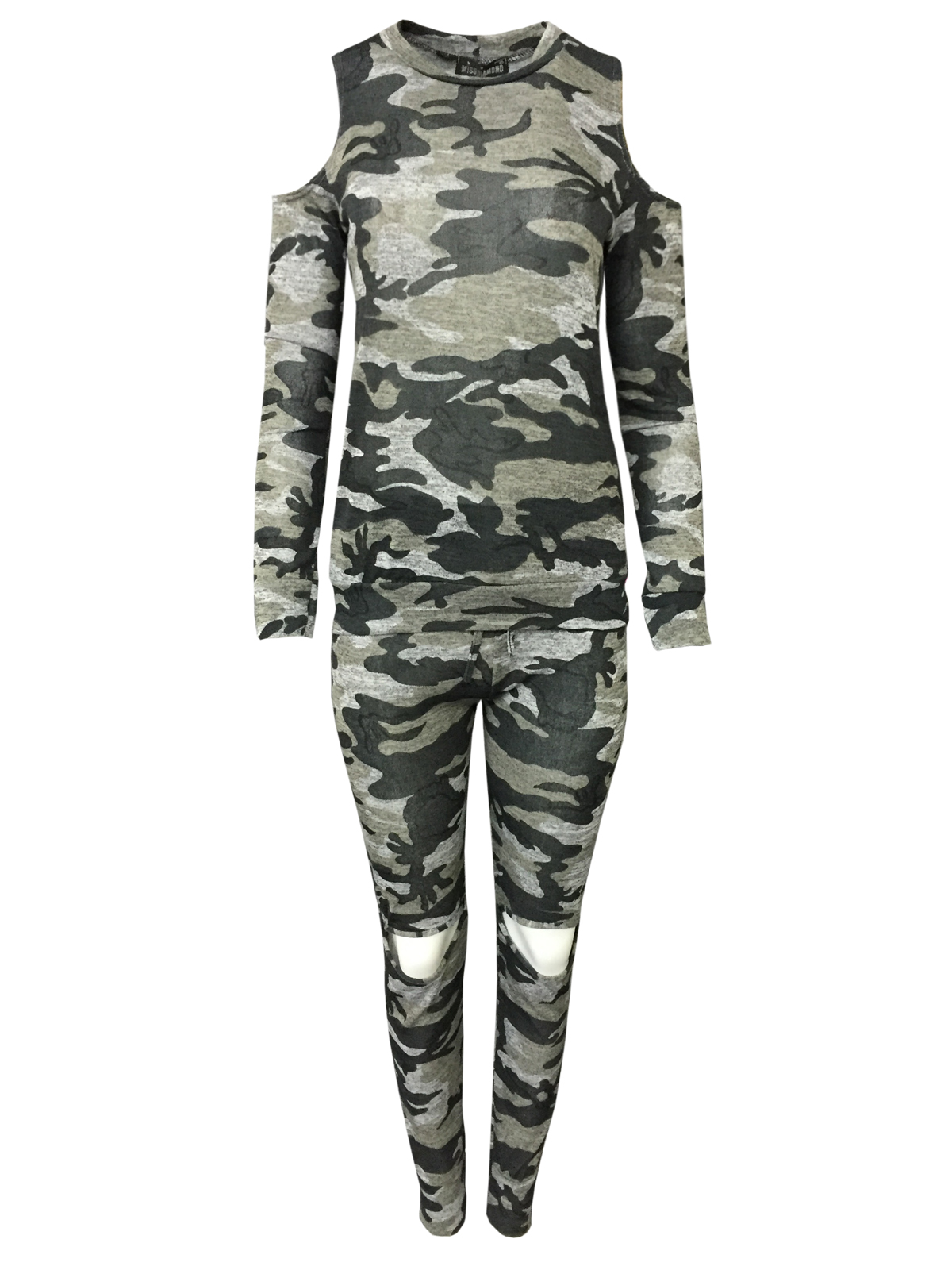femme co ord militaire ajust e imprim camouflage jogging costume set femmes surv tement ebay. Black Bedroom Furniture Sets. Home Design Ideas