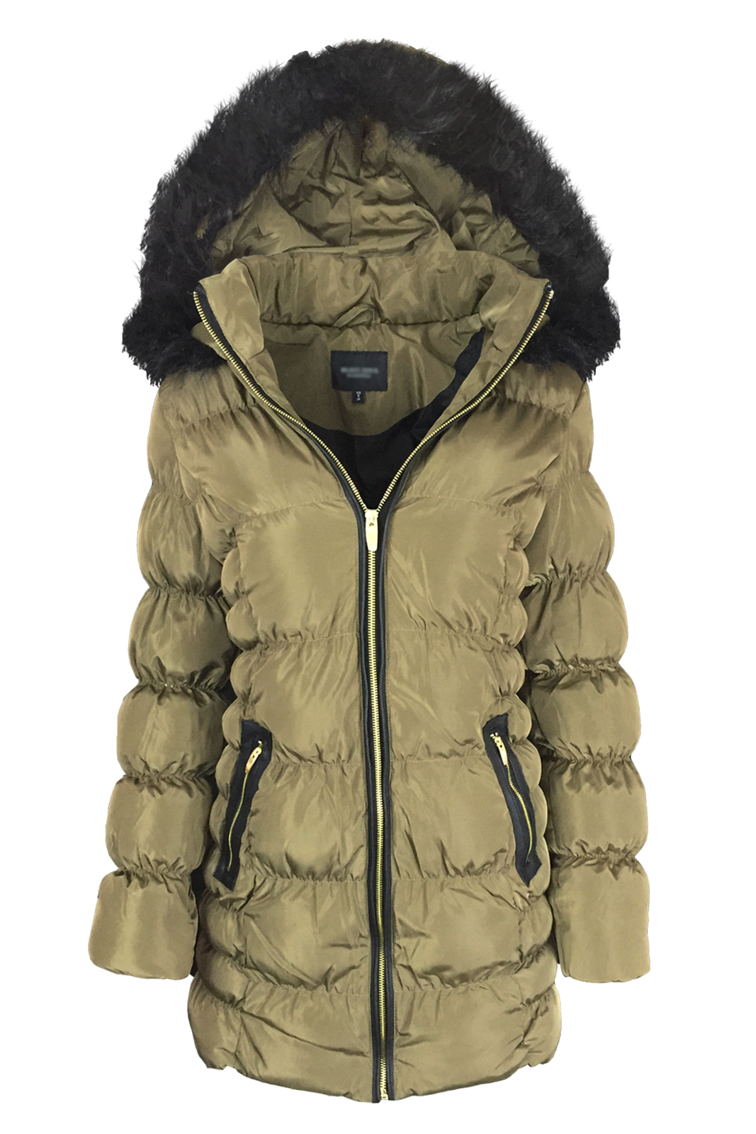 Ladies New Parka Faux Fur Hooded Jacket Warm Puffer Padded ...