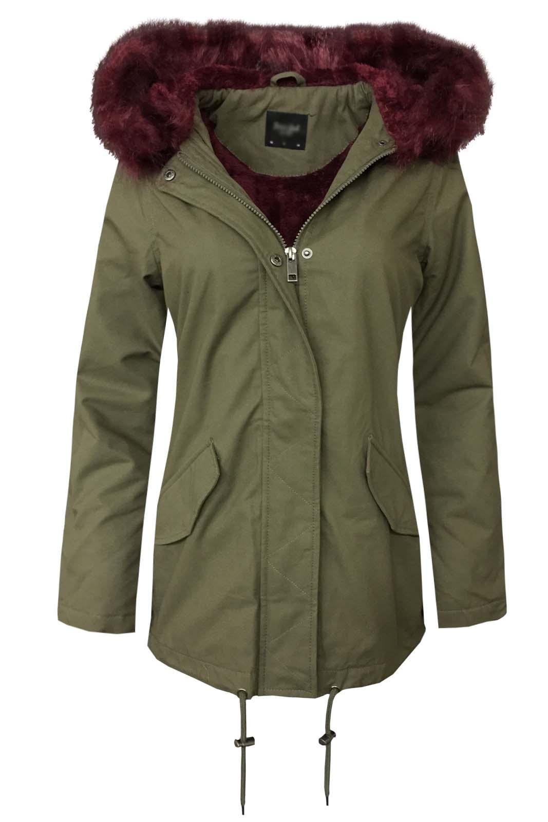 Ladies Cotton Faux Fur Hooded Warm Winter Coat Womens ...