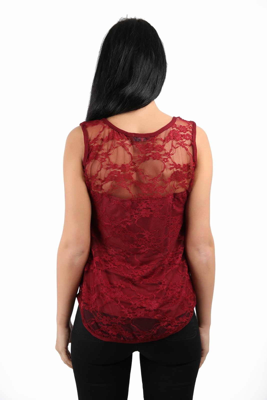 LADIES SLEEVELESS STRETCH BODYCON LACE TOP WOMENS VEST TOP T-SHIRT