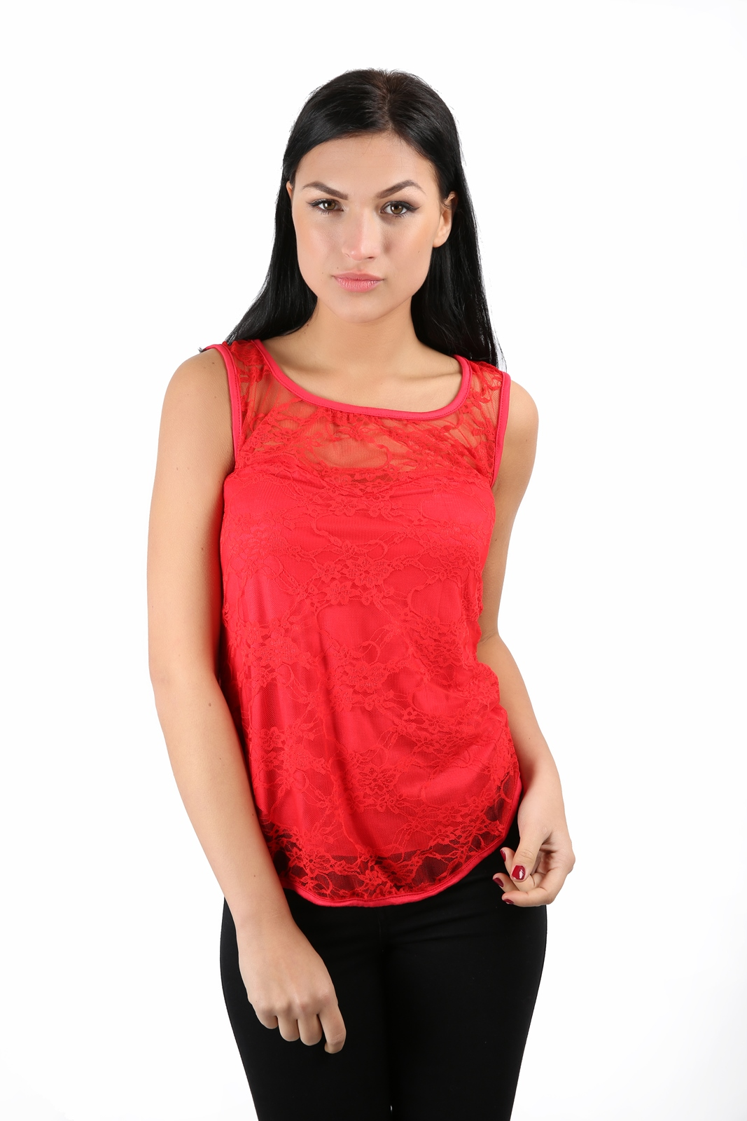Ladies sleeveless stretch bodycon lace top womens vest top for Sleeveless shirts for ladies