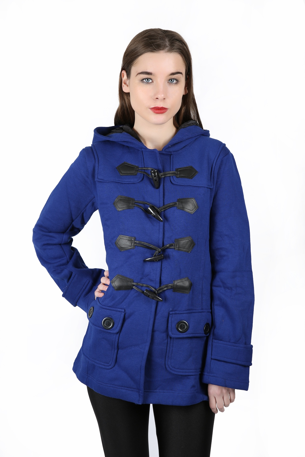 NEW LADIES HOODED DUFFLE COAT TRENCH POCKET WOMENS HOODED JACKET ...