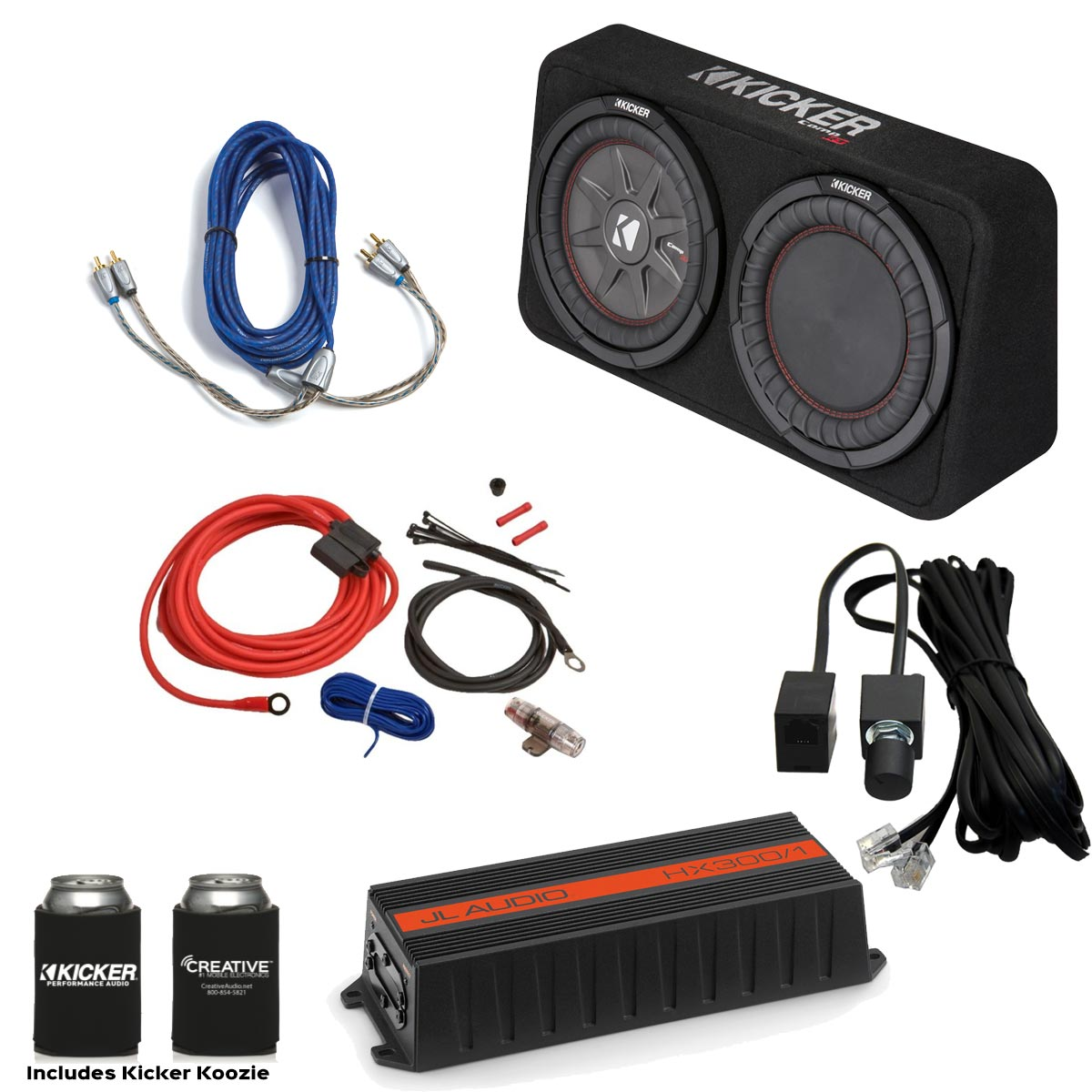 Jl Audio Hx300  1 300 Watt Amp  Kicker 10 U0026quot  Comprt Loaded Enclosure  U0026 Wiring Kit
