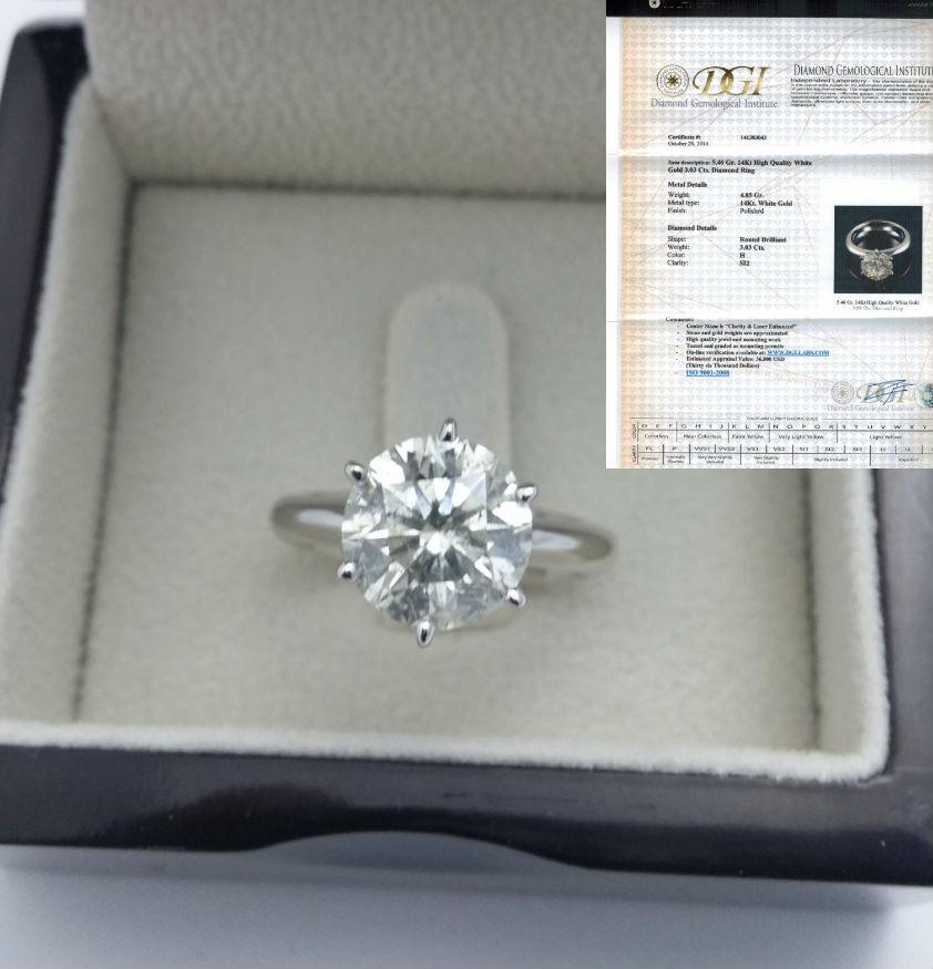 3 CARATS DIAMOND RING ROUND BRILLIANT SOLITAIRE SI 14K WHITE GOLD