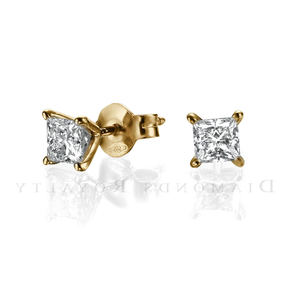 stud princess 3 carat solitaire earrings 4 prongs