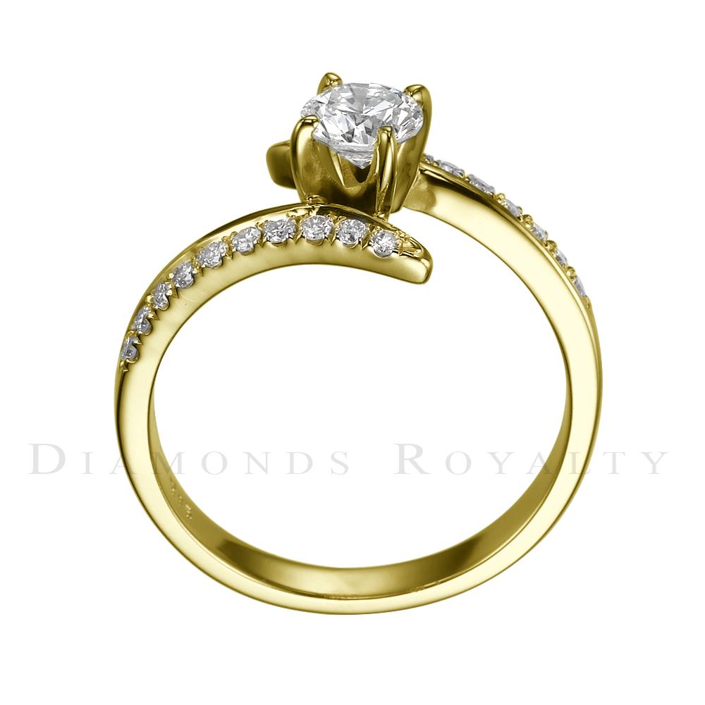 SI1 ROUND DIAMOND RING 14 KARAT YELLOW GOLD LADIES 0 7 CARAT TWISTED SIZE 7 8