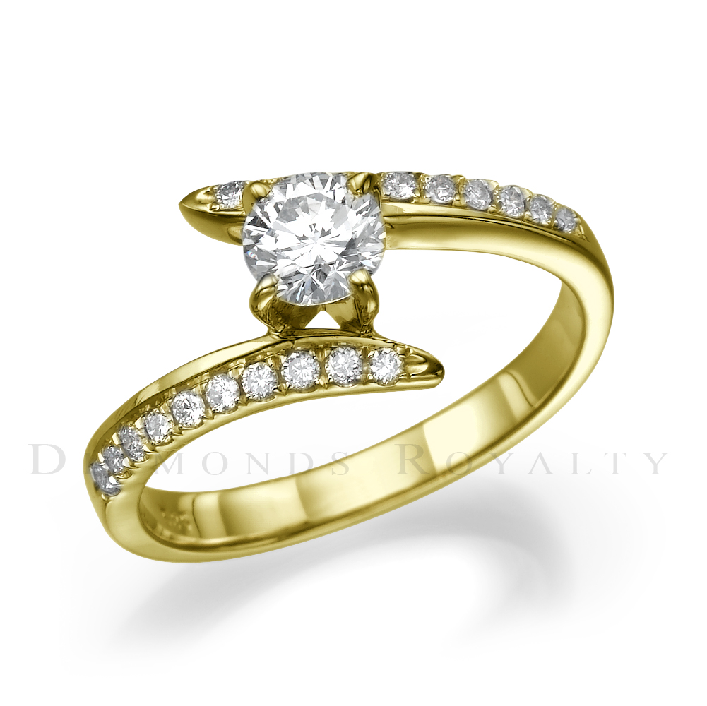 SI1 ROUND DIAMOND RING 14 KARAT YELLOW GOLD LADIES 0 7 CARAT TWISTED SIZE 7 8