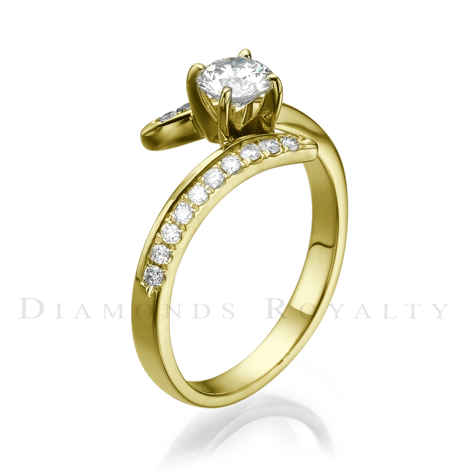 si1 round diamond ring 14 karat yellow gold ladies 0 7 carat twisted size 7 8 9 ebay. Black Bedroom Furniture Sets. Home Design Ideas