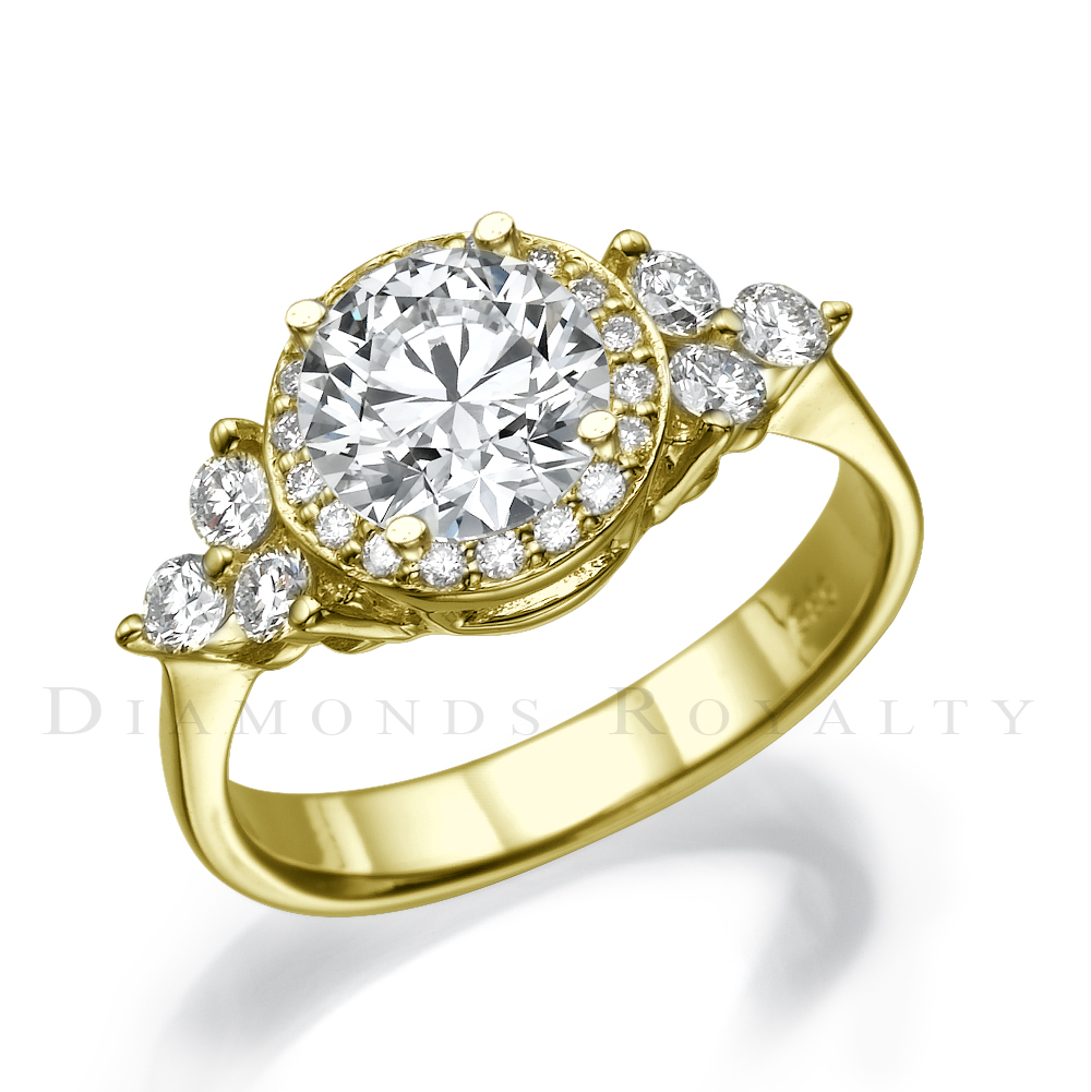 DIAMOND VINTAGE STYLE RING SI2 18 KARAT YELLOW GOLD 1 23 CT SIZE 4 5 5 6 7 8