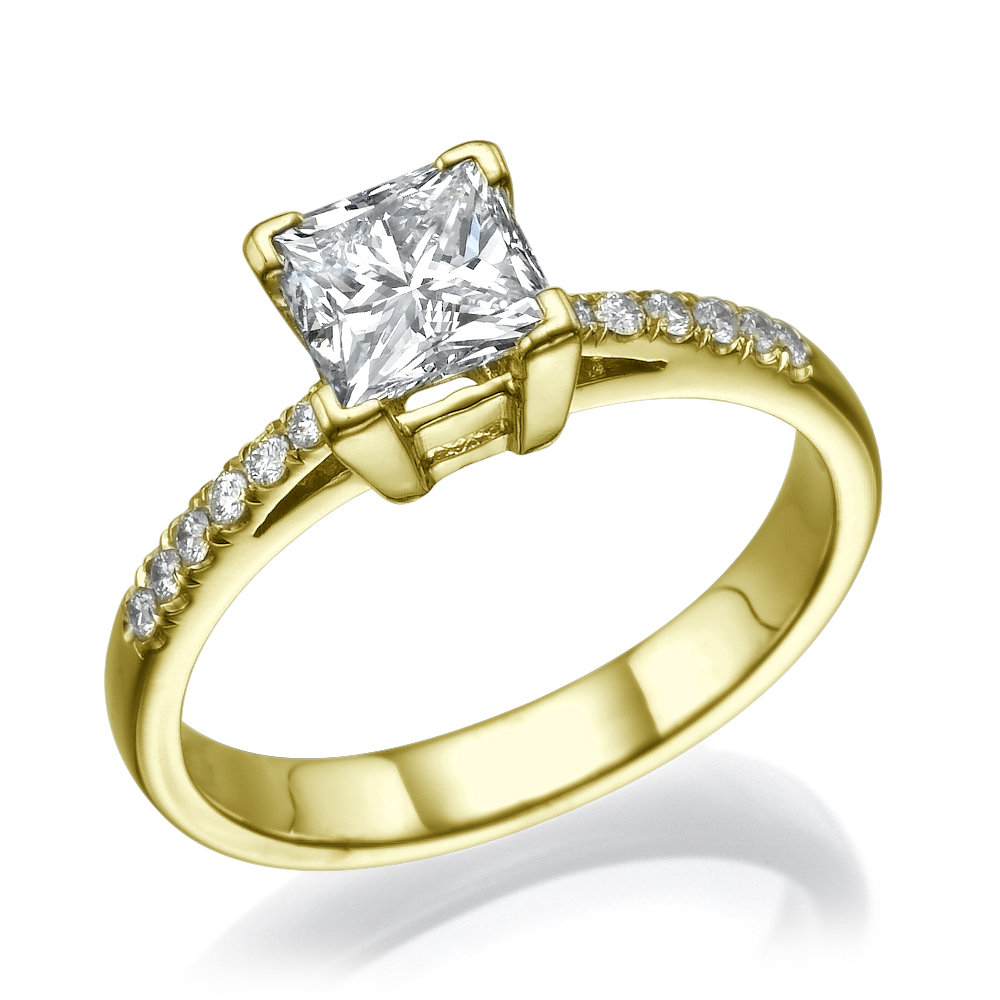 DIAMOND RING PRINCESS LADIES ACCENTED 14 KARAT YELLOW GOLD VS ESTATE SIZE 6 7