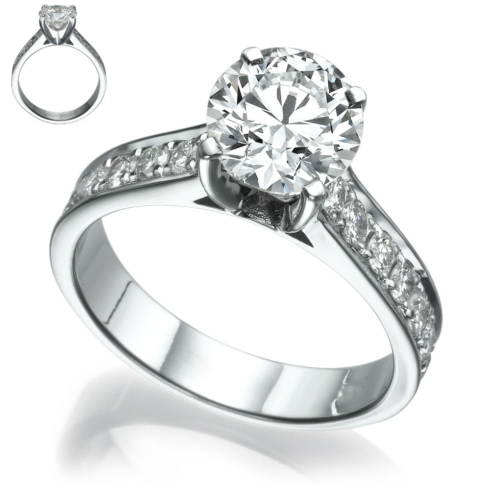 si2 carats 14k white gold round diamond ring channel. Black Bedroom Furniture Sets. Home Design Ideas