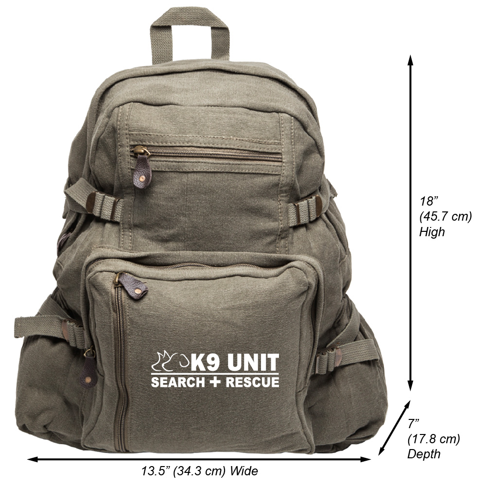 K9 Search /& Rescue Army Sport Heavyweight Canvas Backpack Bag